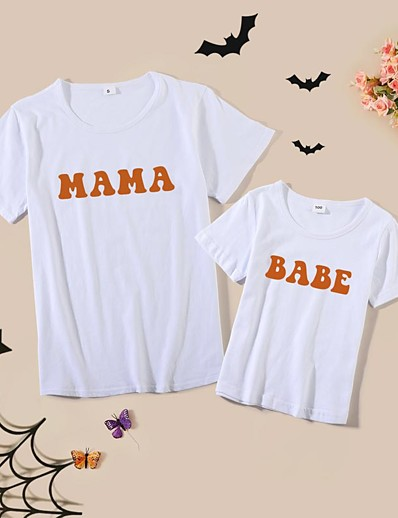 cheap Family Matching Outfits-Halloween Tops Cotton Mommy and Me Athleisure Letter Print Blushing Pink Wine Army Green Short Sleeve Basic Matching Outfits / Summer / Cute