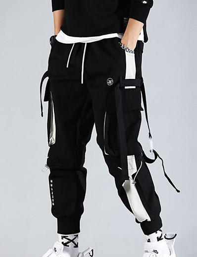 cheap Men's Bottoms-men's cargo pants Streetwear Trousers With Multi-pockets hiphop punk jogger sport harem pants spring Fall