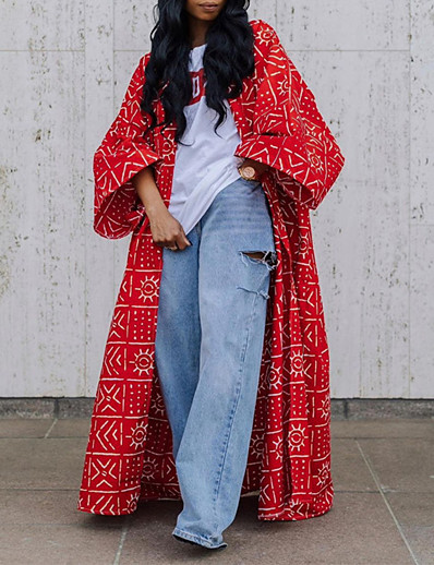 cheap Women's Outerwear-Women's Trench Coat Fall Street Daily Maxi Coat Breathable Regular Fit Casual Jacket Long Sleeve Patchwork Geometric Red