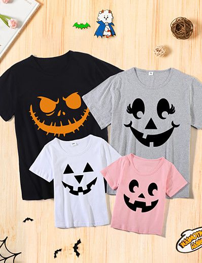 cheap Family Matching Outfits-Halloween Tops Cotton Family Look Athleisure Cartoon Ghost Print Multicolor Short Sleeve Basic Matching Outfits / Summer / Cute