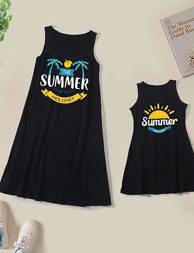 cheap Family Matching Outfits-Dresses Cotton Mommy and Me Daily Letter Print Black Knee-length Sleeveless Tank Dress Cute Matching Outfits / Summer / Long