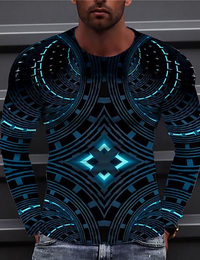 cheap Men's Tops-Men's Unisex Tee T shirt Shirt Graphic Prints Geometry 3D Print Print Daily Long Sleeve Regular Fit Tops Casual Designer Big and Tall Blue Yellow Green