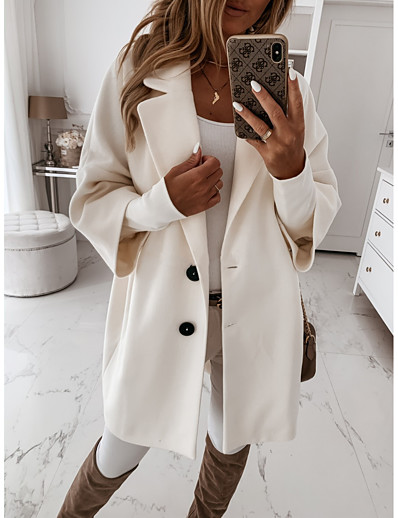 cheap Women's Outerwear-Women's Coat Fall Winter Street School Holiday Regular Coat Casual Regular Fit Elegant Casual Jacket Long Sleeve Oversized Solid Color khaki Light Grey White