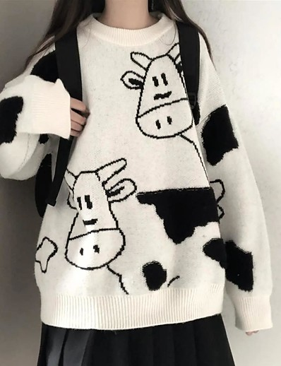 cheap Sweaters & Cardigans-Women's Pullover Sweater Cow Modern Style Active Casual Long Sleeve Sweater Cardigans Winter Round Neck White Black