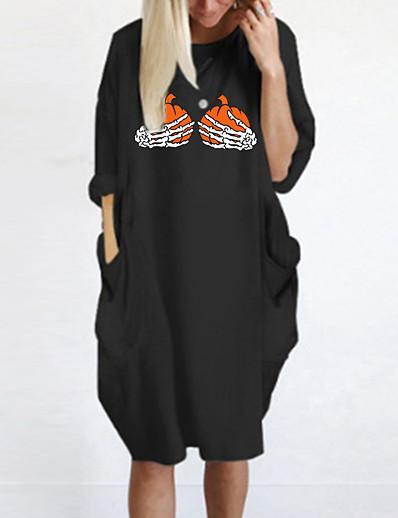 cheap Dresses-Women's Knee Length Dress T Shirt Dress Tee Dress Blue Yellow Fuchsia Gray Green White Black Long Sleeve Pocket Print Print Round Neck Fall Spring Halloween Casual 2021 Oversized S M L XL XXL 3XL 4XL