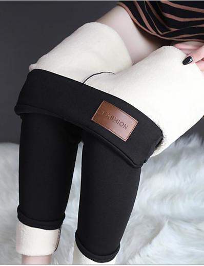 cheap Women's Bottoms-women warm fleece lined winter pant elastic high waist sweatpants trousers winter leggings(m) gray
