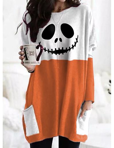 cheap Tees & T Shirts-Women's Halloween T shirt Abstract Painting Long Sleeve Plaid Color Block Pumpkin Round Neck Pocket Print Basic Halloween Tops Wine Gray Orange / 3D Print