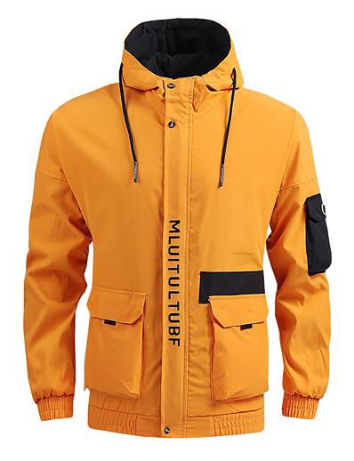 저렴한 소프트쉘, 플리스 & 하이킹 재킷-남성용 까마귀 자켓 하이킹 자켓 하이킹 바람막이 점퍼 집 밖의 보온 방풍 빠른 드라이 경량 아웃웨어 트렌치 코트 탑스 스키 피싱 등산 옐로우 그레이 블랙 / 캠핑 / 등산 / 동굴탐험 / 통기성