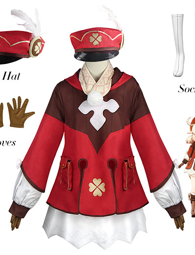 cheap Anime Cosplay-Inspired by Genshin Impact Klee Anime Cosplay Costumes Japanese Cosplay Suits Outfits Top Gloves Socks For Women's / Shorts / Scarf / Hat / Bow Tie / Shorts