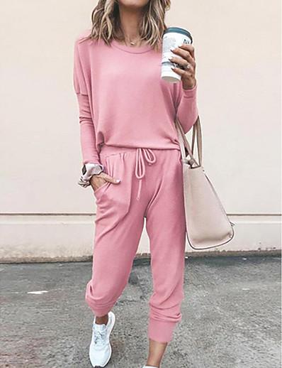 cheap Two Piece Set-Women's Plain Solid Colored Two Piece Set Pant Loungewear Jogger Pants Tracksuit T shirt 2 Piece Tops