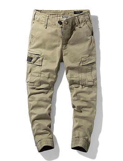 cheap Men's Bottoms-Men's Cargo Chino Pants Sweatpants Cycling Breathable Outdoor Sports Casual Pants Full Length Solid Color Zipper Pocket Army Green Khaki Black Dark Gray / Drawstring / Elasticity