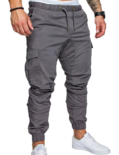 cheap Men's Bottoms-Men's Anklet Sporty Casual Streetwear Jogger Pants Tactical Cargo Trousers Breathable Loose Pants Full Length Solid Colored Elastic Waistband Drawstring with Side Pocket Blue Wine Army Green Khaki