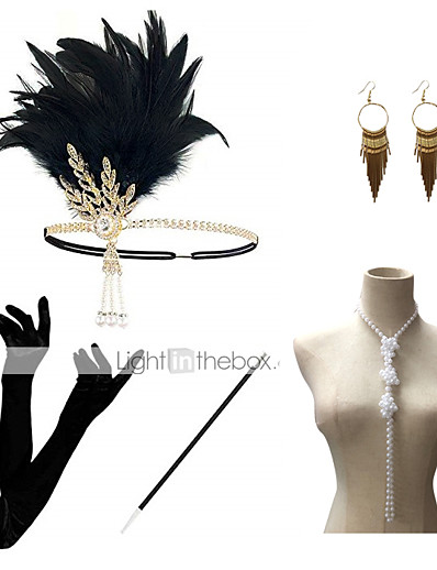 cheap Historical & Vintage Costumes-Headbands Earrings Pearl Necklace Halloween Costume Outfits Alloy 1920s Halloween For The Great Gatsby Cosplay Women's Costume Jewelry Fashion Jewelry / Gloves / Gloves