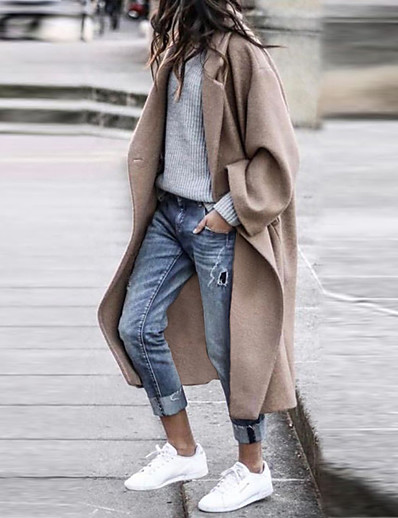 cheap Coats & Trench Coats-Women's Coat Fall Winter Street Daily Date Long Coat Warm Breathable Regular Fit Chic & Modern Casual Jacket Long Sleeve Quilted Pocket Solid Color Blue Gray Khaki / Going out