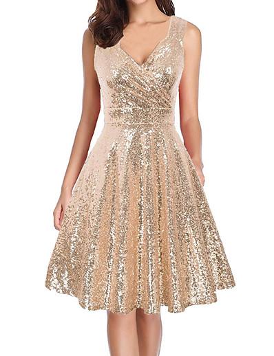 cheap Boho Dresses-Women's Knee Length Dress A Line Dress Gold Sleeveless Sequins Solid Color V Neck Summer Party Elegant Vintage Sexy 2021 Regular Fit S M L XL XXL / Party Dress