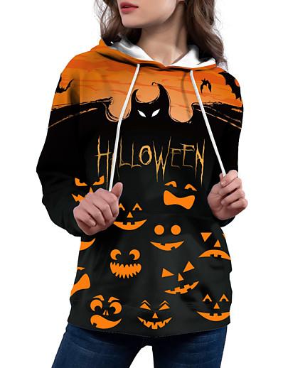 cheap Hoodies & Sweatshirts-Women's Halloween Hoodie Pullover Hoodie Sweatshirt Print 3D Print Casual Daily Streetwear Halloween Hoodies Sweatshirts  Black