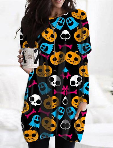 cheap Dresses-Women's Short Mini Dress Shift Dress Blue Black Long Sleeve Pocket Print Print Abstract Round Neck Fall Winter Halloween Holiday Casual 2021 Regular Fit S M L XL XXL 3XL