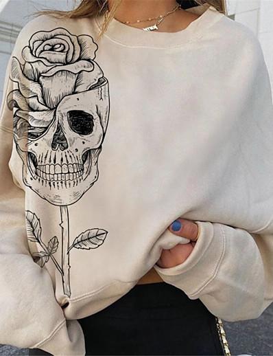 cheap Hoodies & Sweatshirts-Women's Floral Skull Sweatshirt Pullover Print Hot Stamping Halloween Weekend Streetwear Oversized Hoodies Sweatshirts  Loose Beige