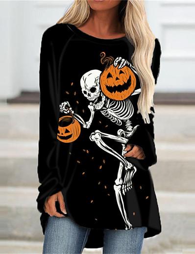 cheap Dresses-Women's Short Mini Dress Shift Dress Yellow Black Long Sleeve Print Print Abstract Round Neck Fall Winter Halloween Holiday Casual 2021 Regular Fit S M L XL XXL 3XL