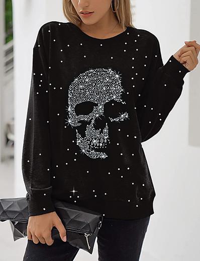 cheap Hoodies & Sweatshirts-Women's Graphic Prints Skull Sweatshirt Pullover Print 3D Print Daily Sports Active Halloween Hoodies Sweatshirts  Black