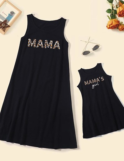 cheap Family Matching Outfits-Dresses Cotton Mommy and Me Daily Leopard Letter Print Black Knee-length Sleeveless Tank Dress Cute Matching Outfits / Summer / Long