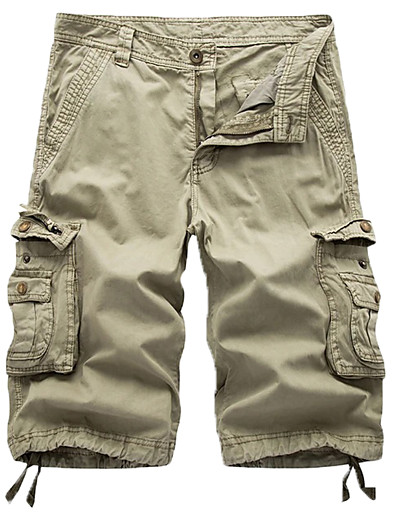 cheap Men's Bottoms-Men's Streetwear Military Chinos Shorts Tactical Cargo Cotton Going out Pants Knee Length Solid Colored Blue Gray Khaki Green Black