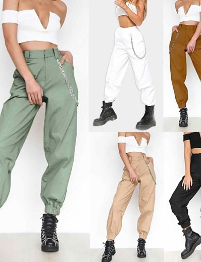 cheap Running, Jogging & Walking-Women's High Waist Sports & Outdoor Joggers Cargo Pants Pants / Trousers Athleisure Wear Bottoms Harem Pleated with Side Pocket Fitness Gym Workout Running Jogging Quick Dry Breathable Soft Sport