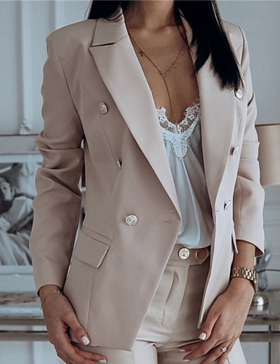 cheap Blazers-Women's Blazer Fall Winter Daily Work Regular Coat Warm Regular Fit Casual Jacket Long Sleeve Quilted Solid Color Blushing Pink White Navy Blue