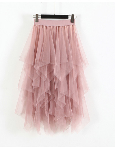 cheap Women's Bottoms-Women's Party / Evening Cocktail Party Swing Elegant & Luxurious Princess Lolita Tutus Knee Length Skirts Layered Tulle Solid Colored Almond Blushing Pink Gray / Loose