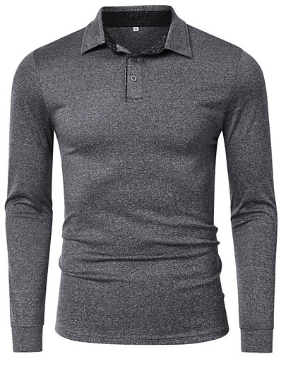 cheap Men's Clothing-Men's Golf Shirt T shirt Solid Color Button-Down Casual Long Sleeve Regular Fit Tops Simple Formal Fashion Dark Green Light gray Black