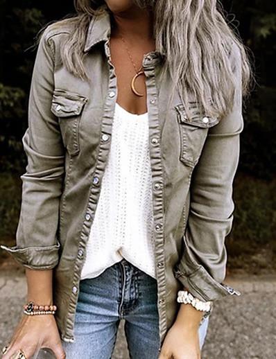 cheap Jackets-Women's Jacket Fall Winter Spring Street Daily Holiday Short Coat Shirt Collar Warm Fashion Regular Fit Basic Casual Jacket Long Sleeve Pocket Solid Colored Gray Green Black