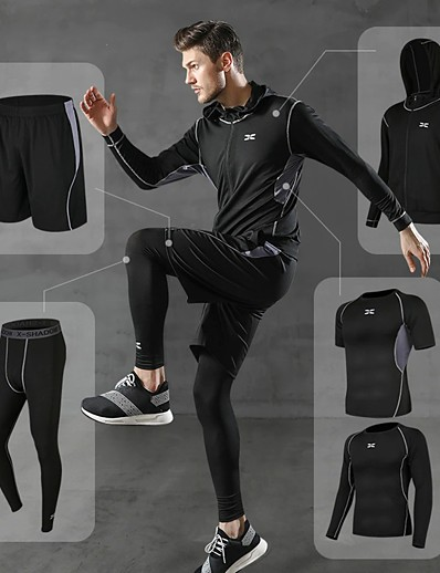 cheap Running, Jogging & Walking-Men's Full Zip Athletic Activewear Set Compression Suit 5pcs Long Sleeve Winter Quick Dry Lightweight Breathable Spandex Fitness Gym Workout Running Jogging Sportswear Solid Color Leggings Jacket
