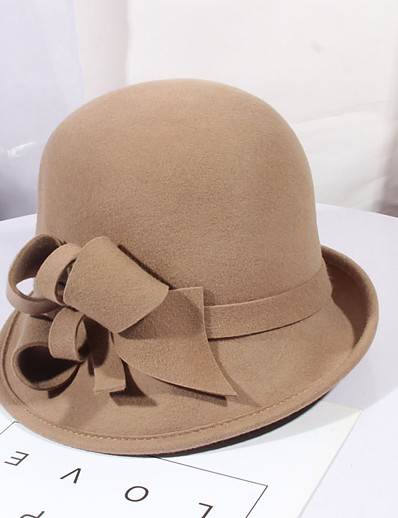 cheap Hats-Women's Party Hat Flower Party Wedding Street Wine Black Pure Color Hat / Gray / Fall / Winter