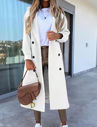 cheap Coats & Trench Coats-Women's Coat Fall Winter Daily Going out Long Coat Thermal Warm Regular Fit Casual Jacket Long Sleeve Quilted Pocket Solid Color Gray Khaki White