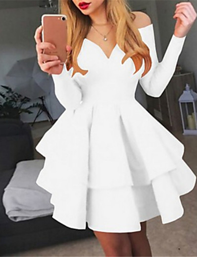 cheap Clearance-Women's A Line Dress Short Mini Dress White Black Red Long Sleeve Solid Colored Layered Fall Spring Off Shoulder Hot Sexy Going out S M L XL XXL