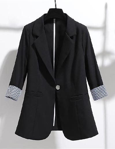 cheap Blazers-Women's Blazer Fall Spring Daily Work Regular Coat Turndown Single Breasted One-button Warm Breathable Regular Fit Casual Streetwear Jacket 3/4 Length Sleeve Pocket Plain White Black Apricot