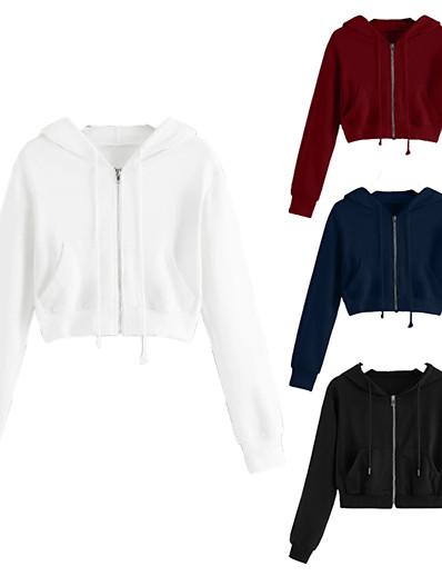 cheap Running, Jogging & Walking-Women's Hoodie Sweatshirt Hoodie Jacket Top Casual Athleisure Winter Warm Soft Fitness Running Jogging Sportswear Blue Gray White Black Red Activewear Micro-elastic