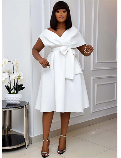 cheap Plus size-Women's Knee Length Dress A Line Dress Green White Black Short Sleeve Patchwork Solid Color V Neck Spring Summer Going out Formal Sexy 2021 S M L XL XXL 3XL / Slim