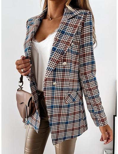 cheap Blazers-Women's Blazer Fall Winter Daily Going out Long Coat Turndown Single Breasted Warm Regular Fit Elegant Jacket Long Sleeve Print Plain Houndstooth Blue Khaki Black / Plaid / Check