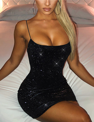 cheap Clearance-Women's Short Mini Dress Sheath Dress Black Sleeveless Backless Sequins Solid Color Square Neck Summer Party Club Party Hot Sexy 2021 Slim S M L XL