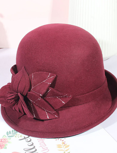 cheap Hats-Women's Party Hat Flower Party Wedding Street Wine Black Pure Color Hat / Brown / Fall / Winter