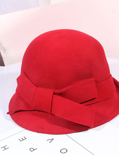 cheap Hats-Women's Party Hat Bow Party Wedding Street Wine Black Pure Color Hat / Red / Fall / Winter