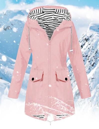 저렴한 소프트쉘, 플리스 & 하이킹 재킷-여성용 방수 하이킹 자켓 레인 자켓 하이킹 바람막이 점퍼 겨울 집 밖의 방수 방풍 빠른 드라이 경량 후드 파카 트렌치 코트 캠핑 & 하이킹 수렵 피싱 네이비 옐로우 핑크 그레이 클로버 / 통기성