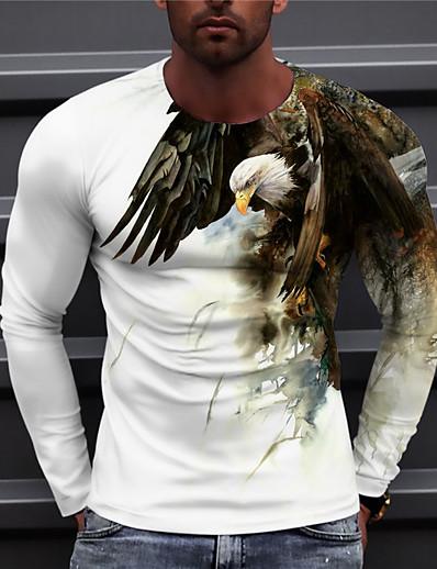 cheap Men's Tops-Men's Unisex Tee T shirt Shirt Graphic Prints Eagle 3D Print Print Daily Long Sleeve Regular Fit Tops Casual Designer Big and Tall Blue Purple Yellow