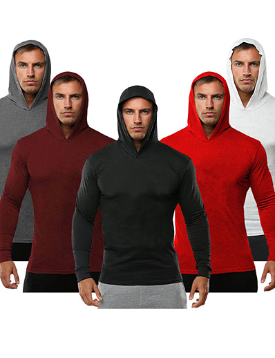 cheap Running, Jogging & Walking-Men's Long Sleeve Hoodie Sweatshirt Top Winter Quick Dry Breathable Soft Spandex Gym Workout Running Workout Sportswear Solid Colored Red Grey Burgundy Dark Navy White Black Activewear Stretchy