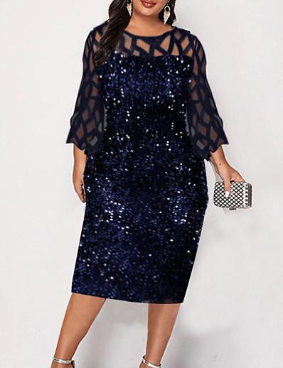 cheap Plus size-Women's Knee Length Dress Shift Dress Wine Black Navy Blue 3/4 Length Sleeve Patchwork Solid Color Round Neck Fall Spring Vintage 2021 Slim L XL XXL 3XL 4XL 5XL