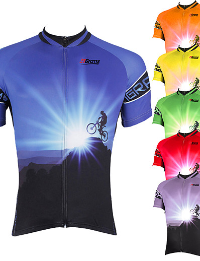 cheap Sportswear-21Grams Men's Short Sleeve Cycling Jersey Summer Polyester Purple Yellow Red Bike Jersey Top Mountain Bike MTB Road Bike Cycling Ultraviolet Resistant Quick Dry Breathable Sports Clothing Apparel