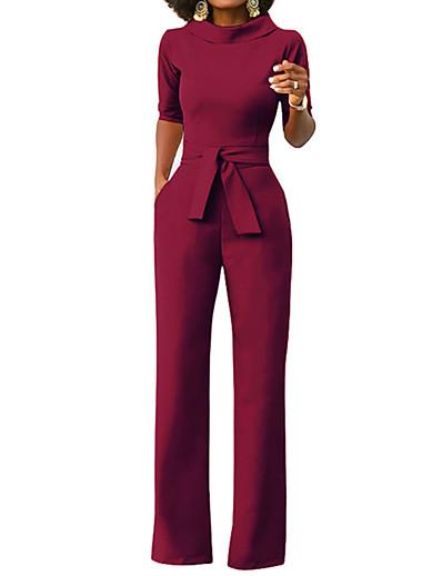 abordables Combinaisons femme-Combinaison-pantalon Lacet Femme Manches Longues Couleur Pleine Mao Simple Bleu Jaune Vin Vert Blanche Noir Rouge S M L XL XXL 3XL