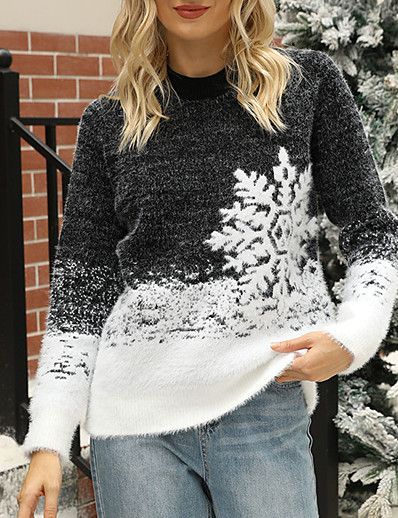 cheap Sweaters & Cardigans-Women's Pullover Sweater Ugly Sweater Color Block Knitted Stylish Casual Soft Long Sleeve Sweater Cardigans Fall Winter Crew Neck Pink purple Blue Blushing Pink / Christmas / Jumper