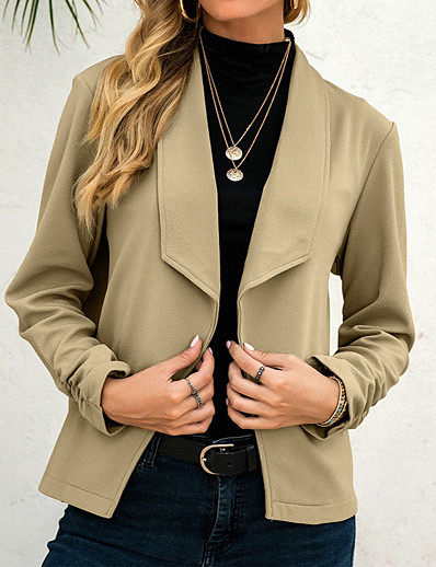 cheap Blazers-Women's Blazer Fall Daily Regular Coat V Neck Open Front Warm Regular Fit Casual Jacket Long Sleeve Quilted Solid Color Blue Blushing Pink Army Green